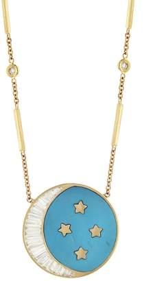 Jacquie Aiche Baguette Diamond Crescent Moon and Four Diamond Star Necklace