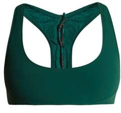 Stella McCartney Scoop Neck Lace Up Back Bikini Top - Womens - Green