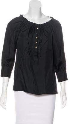 Juicy Couture Silk Three-Quarter Sleeve Blouse