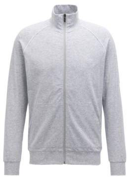 BOSS Hugo Regular-fit loungewear jacket in stretch cotton XL Light Grey