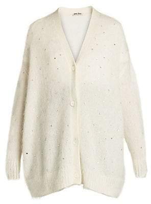 Miu Miu Women's Oversized Crystal Knit Cardigan