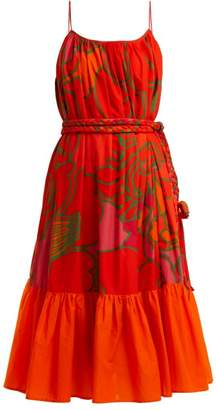Rhode Resort Lea Floral Print Cotton Dress - Womens - Orange Print