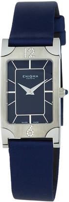 Bulgari Enigma By Gianni Rectangular Watch w/ Diamonds & Nylon Strap, Blue