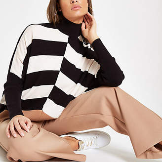 River Island Black stripe block turtle neck sweater