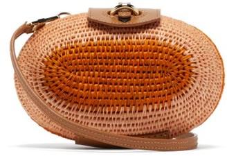 Khokho - Lindi Minaudiere Leather Trimmed Basket Bag - Womens - Pink Multi