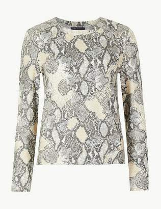 Marks and Spencer Cosy Animal Print Long Sleeve Top
