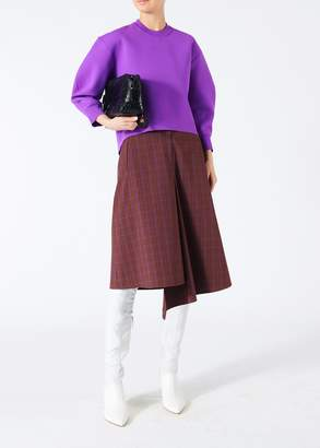 Tibi Menswear Check Drape Pencil Skirt