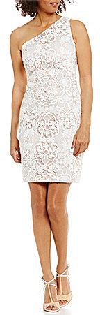 Calvin KleinCalvin Klein One-Shoulder Lace Sheath Dress