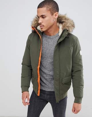 Jack and Jones Originals Short Parka With Faux Fur Hood