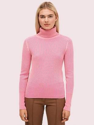 Kate Spade Contrast Rib Turtleneck, Pale Pink - Size L