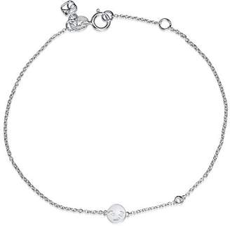 Shy by Sydney Evan Women's White Rhodium Plated Sterling Silver Diamond Bezel Smirk Emoji Bracelet of Length 17.145 cm