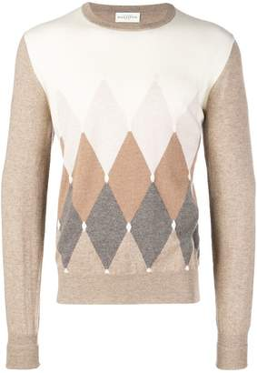 Ballantyne colour contrast round neck sweater