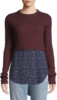 Contemporary Designer Garret Mixed-Media Rib-Knit Plaid Tunic