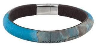 Tateossian Leather Mappa Mundi Bangle Bracelet