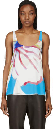 Versace Pink and Blue Silk Crepe Watercolor Tank