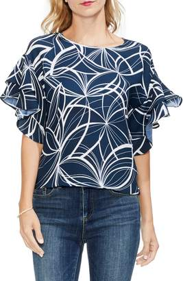 Vince Camuto Ruffle Sleeve Print Top