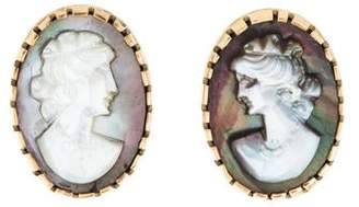 Mother of Pearl 14K Cameo Clip-On Earrings