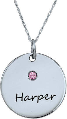 FINE JEWELRY Personalized Simulated Birthstone Round Name Pendant Necklace