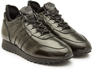 Hogan Retro Running Sneakers with Leather
