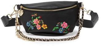 Betsey Johnson Embroidered Floral Belt Bag