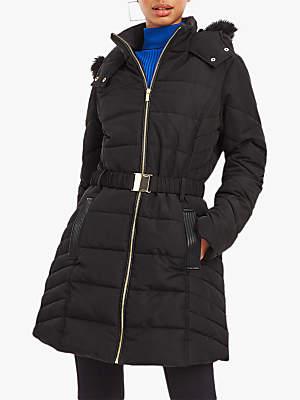 Hastings Faux Fur Belted Padded Coat, Black