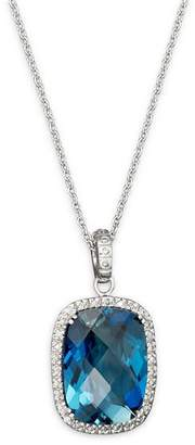 """Bloomingdale's London Blue Topaz Cushion and Diamond Necklace in 14K White Gold, 16"""" - 100% Exclusive"""