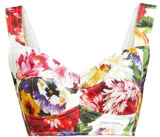 Dolce & Gabbana Rose And Hydrangea Print Cotton Blend Crop Top - Womens - White Multi
