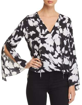 Kenneth Cole Bell-Sleeve Wrap Top