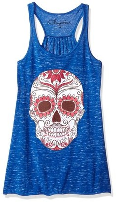 Clementine Apparel Women's with Floral Skull Flowy Racerback Tank Top