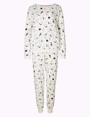 Marks and Spencer Cotton Rich Llama Print Pyjama Set