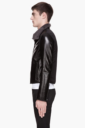Lanvin Black patent leather shearling jacket