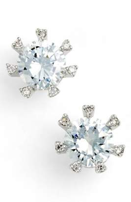 Kenneth Jay Lane CZ by Embellished Prong Cubic Zirconia Stud Earrings