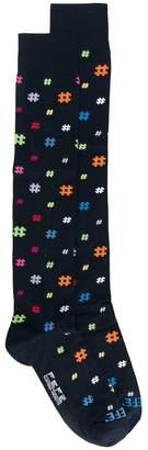 fe-fe hashtag patterned socks