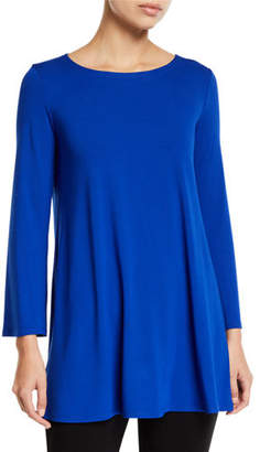 Eileen Fisher Wide-Sleeve Ballet-Neck Viscose Jersey Tunic, Plus Size