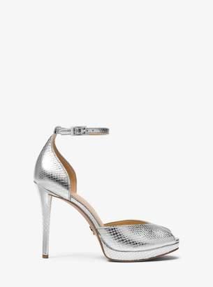 MICHAEL Michael Kors Tiegan Metallic Embossed Leather Sandal