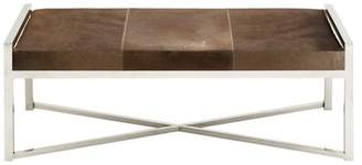 Benzara The Simple Stainless Steel Brown Leather Bench