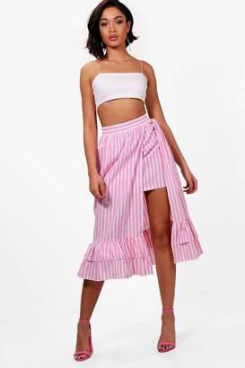 boohoo Woven Stripe Frill Double Midi Skirt