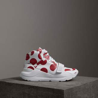 Burberry Spot Print Leather High-top Sneakers