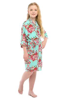 YueQiW Children's Rayon Cotton Floral Satin Kimono Robe for Wedding Dressing Gown Sleepwear