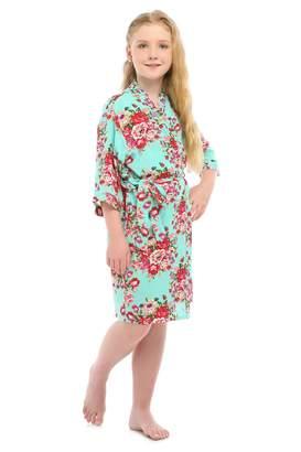 YueQiW Children's Rayon Cotton Floral Satin Kimono Robe for Wedding Dressing Gown Sleepwear