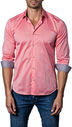 Jared Lang Men's Contrast-Cuff Button-Down Sport Shirt