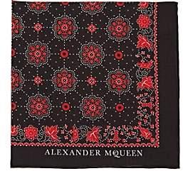 Alexander McQueen Men's Skull-Medallion-Print Cotton Pocket Square-Black