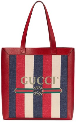 Gucci red, blue and cream logo linen and leather tote
