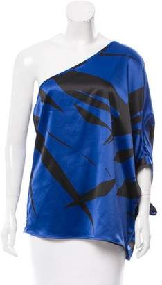 Halston Printed One-Shoulder Top w/ Tags