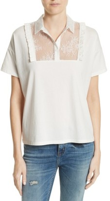 Women's The Kooples Lace & Ruffle Cotton Top $150 thestylecure.com