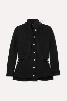 Alexander McQueen Layered Grosgrain-trimmed Denim Jacket - Black