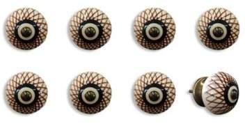 Knob-It! Vintage Hand Painted 8-Pack Ceramic Round Knob Set in Cream/Brown