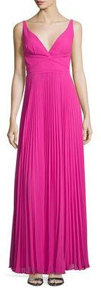 Laundry By Shelli Segal Sleeveless V-Neck Plisse Gown, Electric Pink $325 thestylecure.com