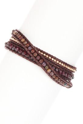 Chan Luu Mixed Semi-Precious Gemstone & Nugget Beaded Leather Wrap Bracelet $210 thestylecure.com