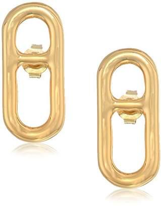 Halston H Sculptural Links Women's Oval Stud Earrings